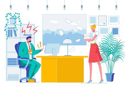 Office Job, Subordination Flat Vector Illustration