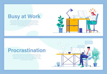 Being Busy at Work Against Procrastination Banners Vectores