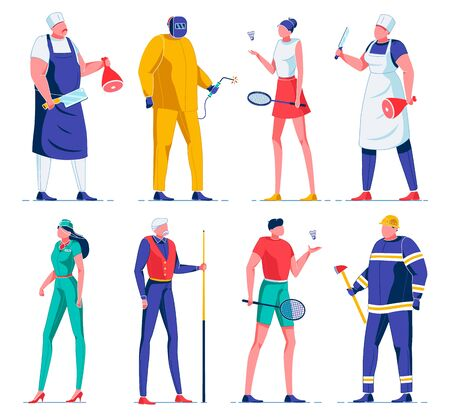 Butcher Cutting Meat with Knife, Electrician Wearing Protective Uniform, Flat Cartoon Vector Illustration. Girl and Boy Playing Badminton, Flight Attendant, Firefighter with Ax. Man with Cue.