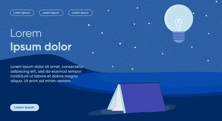 Night Reading Flat Landing Page Vector Template