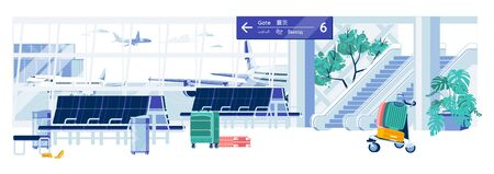 Departure Hall or Waiting Zone in Air Terminal Interior. Passenger Room with Escalators to Airplanes Gates and Benches. Transportation and Traveling, Air Tourism. Flat Cartoon Vector Illustration.