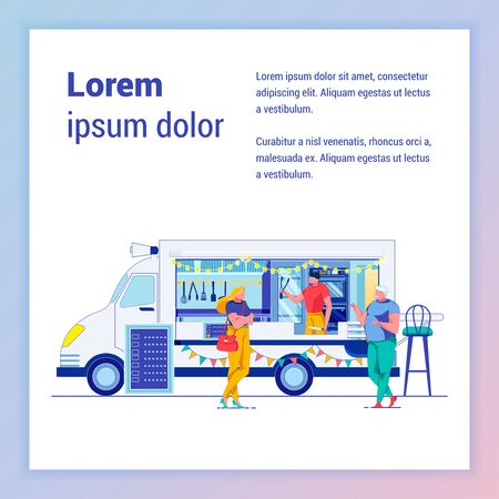 Takeaway Fastfood Truck Outdoor Banner Template. Street Food Van in Park Poster Cartoon Layout with Text Space. Young Woman Buying Snacks. Takeout Junk Food Selling Flat Illustration with Copyspace
