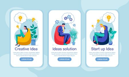 Ideas Generation Onboarding Screen Flat Templates. Brainstorming, Start Up, Innovation, Managers with New Ideas Faceless Characters. Company Promotion Mobile App Interface Cartoon Vector Layouts