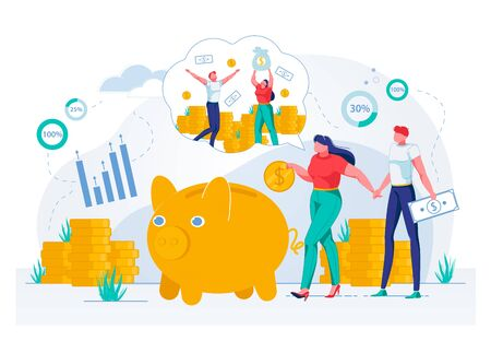 Money Savings, Banking and Financial Investments in Family Budget. Man and Woman Characters Putting Coins and Banknotes into Piggy Bank and Celebrating Income Growth. Flat Vector Illustration. Stock Illustratie