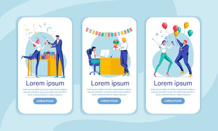 Corporate Party Onboarding Screen Flat Templates. Celebration, Greetings, Congratulations. Feasting Office Workers Faceless Characters. Staff Entertainment Mobile App Interface Cartoon Vector Layouts