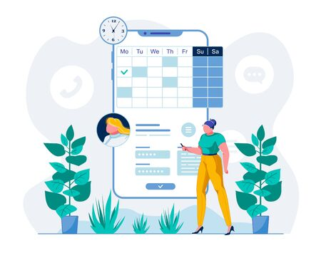 Telemedicine Mobile App User Flat illustration. Patient Scheduling Meeting with Doctor Online Cartoon Character. Woman Making Appointment with Therapist via Smartphone Telehealth Application Ilustração