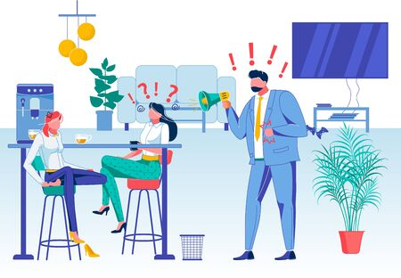 Company Staff Relations Flat Vector Illustration. Strict Boss and Disregarding Office Workers, Director and Subordinates Faceless Characters. Coffee Break, Relaxation, Call to Work Ignoring concept