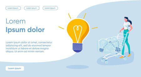 Steps to Implement Concept Bright Idea, Cartoon. Ilustração