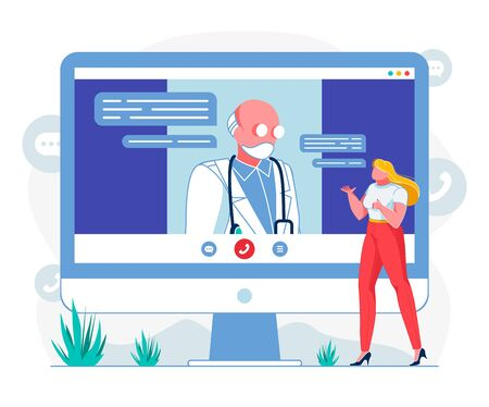 Doctor Consulting Online Flat Vector Illustration. General Practitioner Listening to Patient via Telemedicine Webpage Account. Cartoon E Health System Client Describing Symptoms, Using Video Call