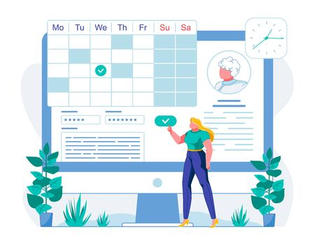 Doctor Appointment Date Choice Flat Illustration. Female Patient Choosing Suitable Day for Hospital Visit. Cartoon Client Checking Physicians Working Schedule Online. Woman Confirming Appointment