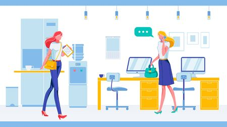 Company Employees or Entrepreneurs Busy with Office Job in Modern Workplace Interior with Furniture. Businesswoman Cartoon Characters Hurry on Business and Talk on Phone. Flat Vector Illustration. Ilustração