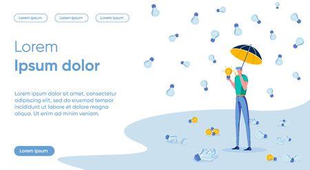 Cherishing Ideas Flat Landing Page Vector Template Ilustração