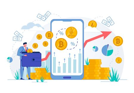 Investments in Foreign and Crypto Currency, Online Exchange Stock. Businessman Cartoon Character Holds Big Purse Getting Money Income from Virtual Commercial Operations. FLat Vector illustration. Ilustrace