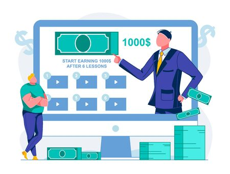 Video Course how to Change Profession, Cartoon. Start Earning 1000 after 6 Lessons. Stacks Paper Bills are next to Monitor. Man has Folded his Arms over his Chest and is Watching Video. Ilustrace
