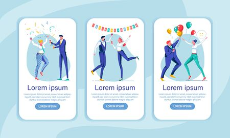 Office Holiday Celebration App Screen Templates. Corporate Party, Workers Greetings, Congratulations. Feasting Male and Female Employees Characters. Entertainment at Work Mobile Application Layouts Illustration