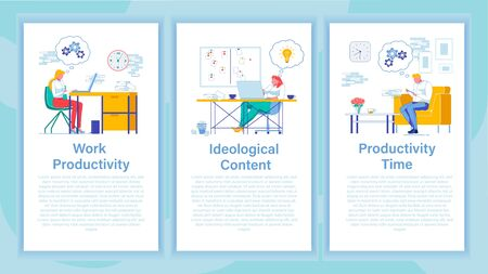 Work Productivity and Content Three Banners Set  イラスト・ベクター素材