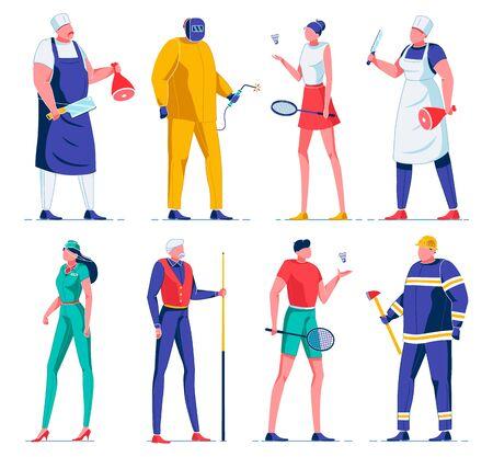Cartoon Butcher, Electrician, Badminton Players.