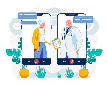 Telemedicine Video Call Technology Illustration Ilustração