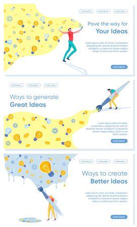 Startup Project Launch Creative Business Idea Set.