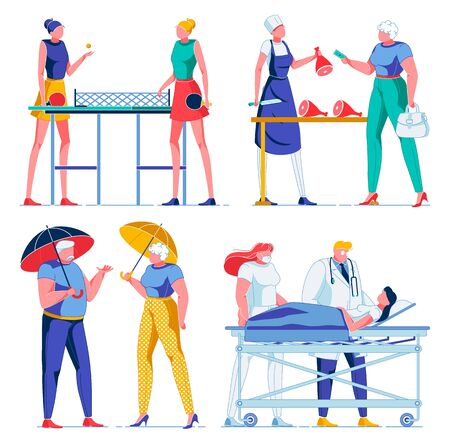 Women Playing table tennis, Butcher Shop, Hospital. Ilustração