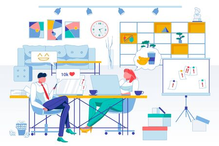 Relax, Workplace Idleness Flat Vector Illustration