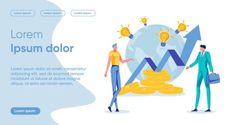 Profit Increase Flat Landing Page Vector Template