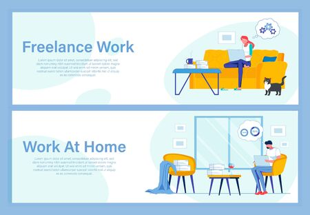 Two Banners with Copy Space with Freelance Workers