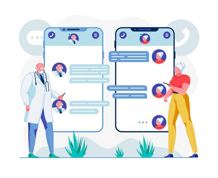 Doctor and Patient Telehealth Chat Illustration