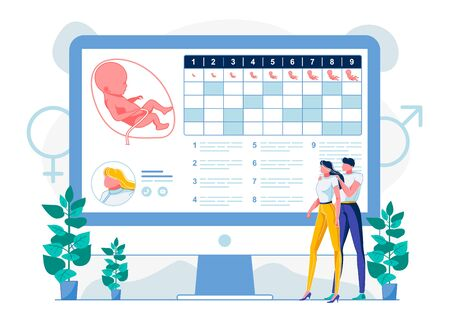 Prenatal Child Development Calendar Illustration