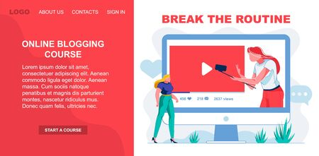 Online Blogging Course, Break the Routine, Slide. Ilustração