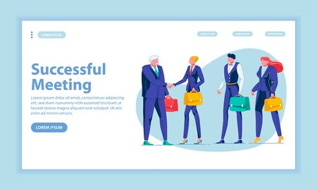 Successful Meeting Landing Page Vector Template