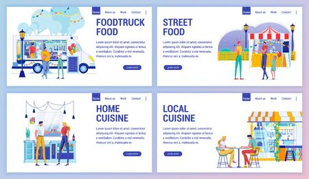 Home and Local Cuisine, Foodtruck and Street Food. Ilustrace