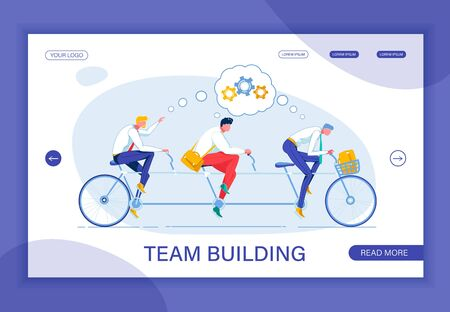 Building United Team Like Riding Triplet Bicycle Stock Illustratie