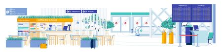 Catering Commercial Airport Area with Restaurants. Illustration