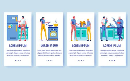 Family Cooking Onboarding Screen Flat Template