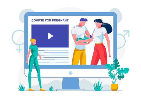 Banner Inscription On Monitor Course for Pregnant.