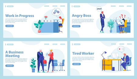 Set Four Office Work Landing Pages with Copy Space