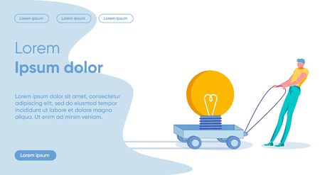 Idea Progress Flat Landing Page Vector Template