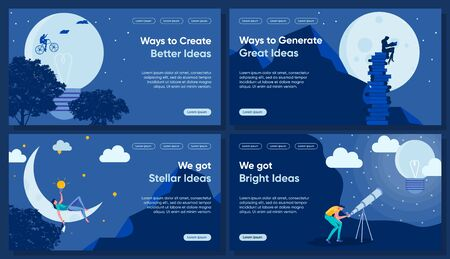 Idea, Insight Flat Landing Page Vector Templates
