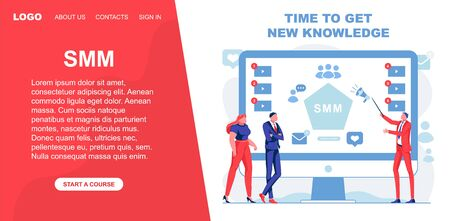 Time to Get New Knowledge about Smm, Vector Banner Ilustração