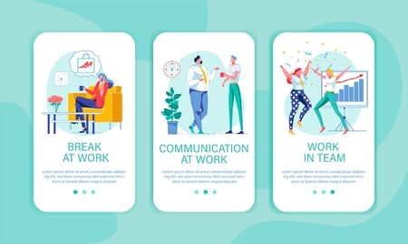Easy Going Work in Friendly Office. Three Banners Stock Illustratie