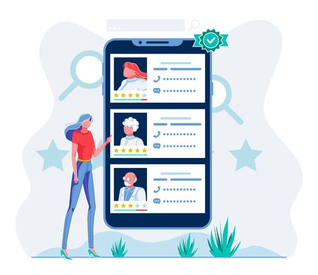 Patient Choosing Doctor in Mobile App Illustration. Telemedicine Application User Reading Hospital Staff Profiles, Comparing Ratings Cartoon Character. Woman Selecting Top Ranking Therapist
