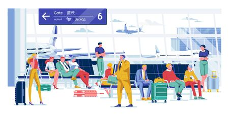 People Waiting for Flight in Comfortable Lounge. Man and Woman Sitting in Airport at Comfortable Chair. They Reading, Working, Talking. Hall with Beautiful View Arriving and Taking off Airplane.  イラスト・ベクター素材