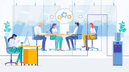 Conference, Briefing Flat Vector Illustration. Businesspeople, Meeting Participants and Secretary Faceless Characters. Project Development, Cooperation, Business Planning and Promotion Concept