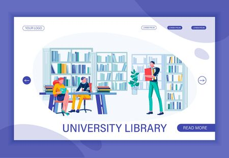 Service Provided by Modern University Library. Coursemate, Boy and Girl, by Table with Study Guide, Reading for Home Assignment. Brunet Wearing Glasses with Book Pile. Flat Vector Landing Page. Иллюстрация