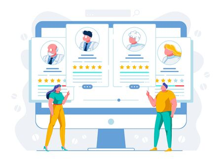 Clients Evaluating Doctors Ranking Illustration. Patients Analyzing Best Physicians Profiles Cartoon Characters. Telemedicine Website Users Comparing Therapists Reviews. E Health Webpage Portfolios Vetores