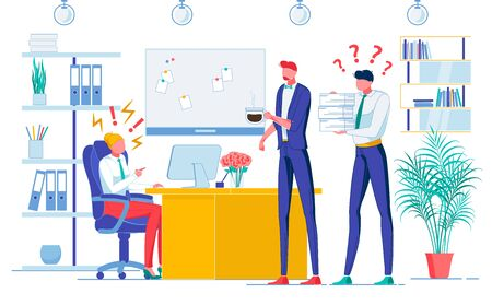 Attitude towards Staff Flat Vector Illustration. Boss Tyrant and Subordinates, Director and Managers Faceless Characters. Executive Behavior, Bad Manner, Employees Disrespect concept