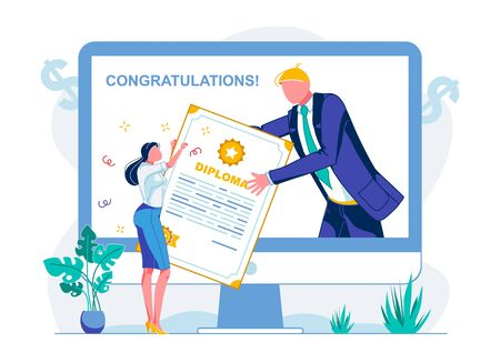Written in Vector Congratulation and Diploma. Girl Holds Huge Diploma. Man in Suit Passes Document from Computer Monitor to Girl, Flat. Solemn Event for Students. Vector Illustration. 向量圖像