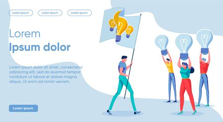 Flat Combination Different Signs Concept Idea. Banner People go on Strike Holding up Dim Lights. Man in Casual Clothes Carries Flag with Image Glowing Light Bulbs. Vector Illustration. Vectores