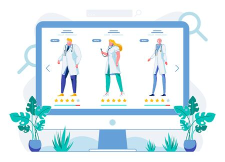Hospital Staff Online Profiles Vector Illustration. Telemedicine Website with Doctors Accounts. E Health Webpage with Medical Workers Duties, Qualifications Description and Patients Assessment